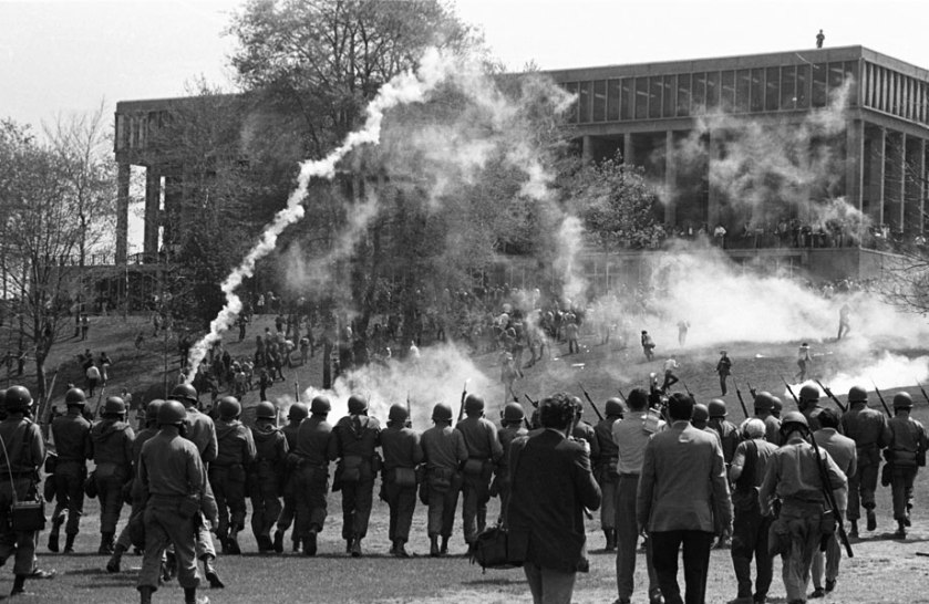 The National Guard fire tear gas to disperse the crowd of students gathered on the commons, May 4, 1970.